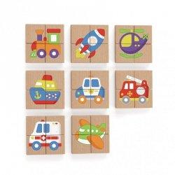 Viga Układanka drewniana puzzle magnetyczne - pojazdy Certyfikat FSC