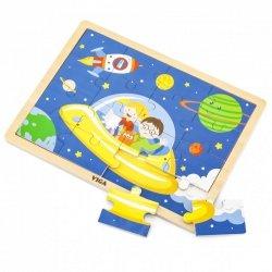 VIGA Drewniane Puzzle Podróż w Kosmos 16 elementów