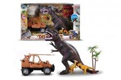 Zestaw figurek dinozaurów z samochodem