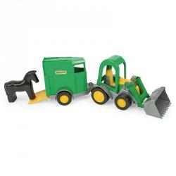Traktor-ładowarka z przyczepą na konia