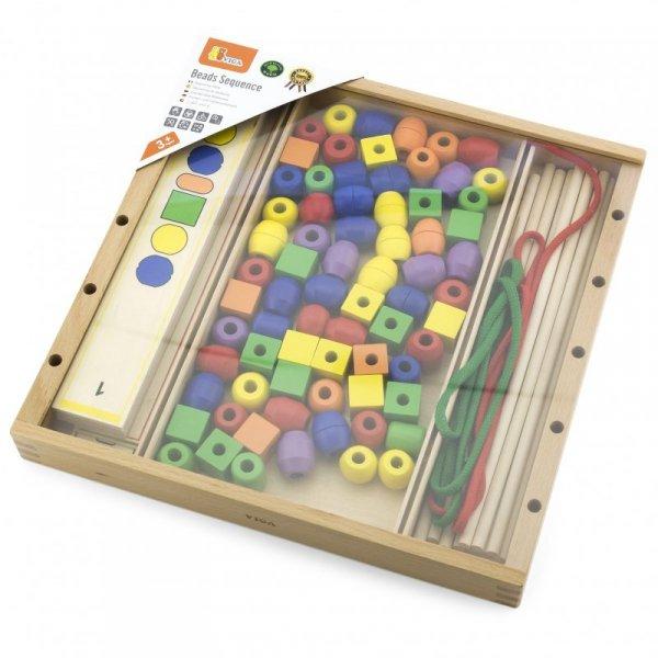 VIGA Drewniana Gra edukacyjna Logiczne koraliki 104 elementy