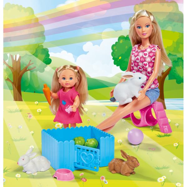 Simba Steffi i Evi ze Zwierzątkami Króliczki