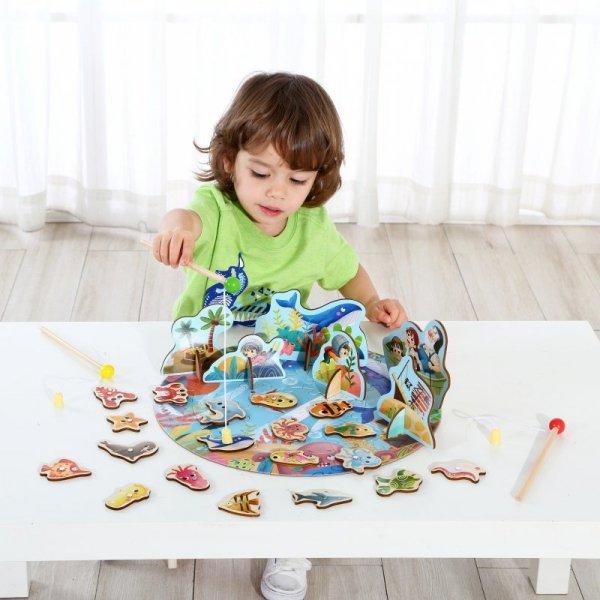 TOOKY TOY Gra Zręcznościowa Łowienie Rybek Wędkowanie Puzzle 2w1