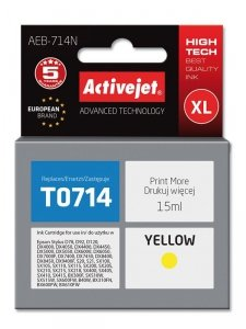 Tusz Activejet AEB-714N (zamiennik Epson T0714, T0894, T1004; Supreme; 15 ml; żółty)