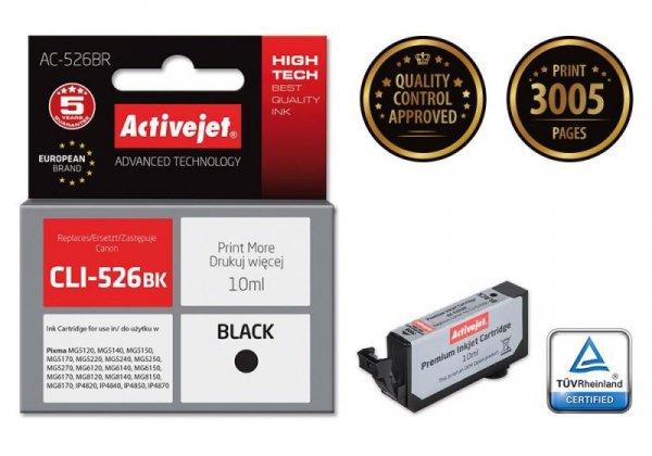 Tusz Activejet AC-526BR (zamiennik Canon CLI-526Bk; Premium; 10 ml; czarny)