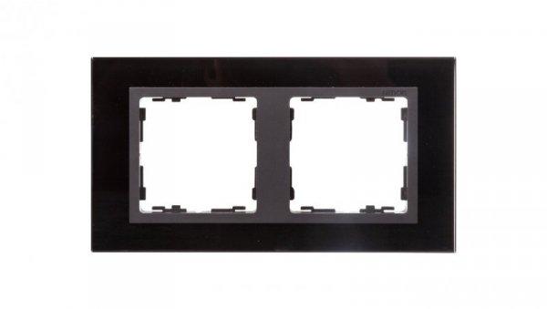 Simon 82 Ramka podwójna pozioma szklana czarna/ ramka pośrednia grafit 82827-32