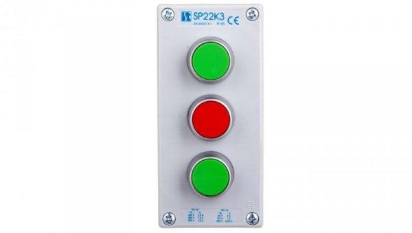 Kaseta sterownicza 3-otworowa 2xzielony/czerwony 2Z 1R IP65 1x membrana M20 szara SP22K302-2