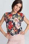 Bluzka z subtelnym pęknięciem bez rękawów B97 Flowers/ Navy - Nife