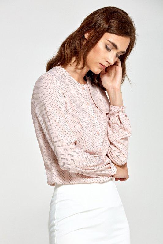 Bluzka z ozdobną klapą po lewej stronie B84 Pink/Kropki - Nife