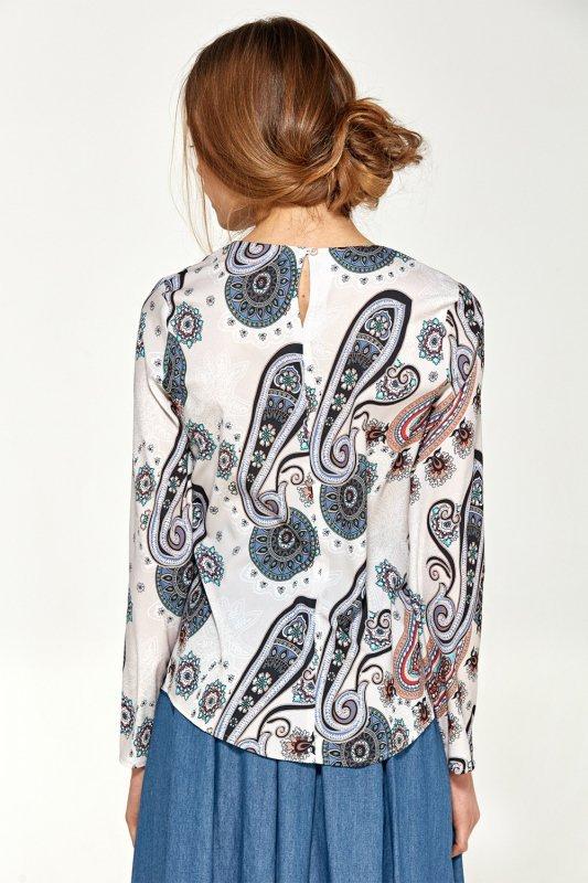 Bluzka z asymetrycznymi draperiami B87 Wzór - Nife