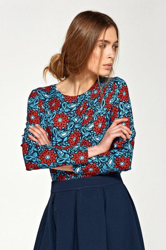 Bluzka z asymetrycznymi draperiami B87 Blue/Flowers - Nife