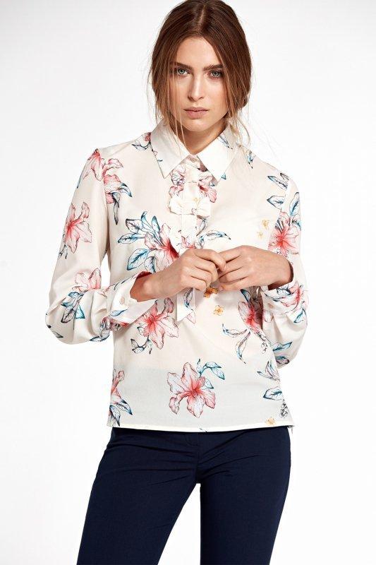 Bluzka z kokardkami B96 Ecru/Flowers - Nife