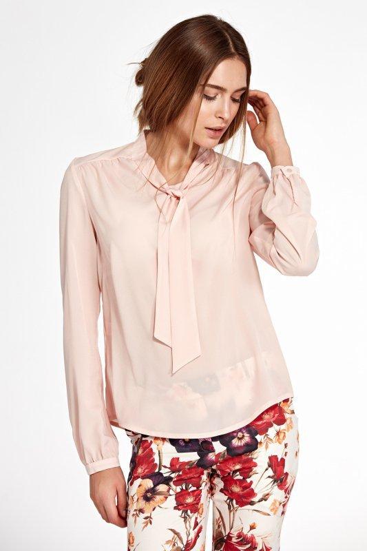 Bluzka z fontaziem i długim rękawem B94 Pink - Nife