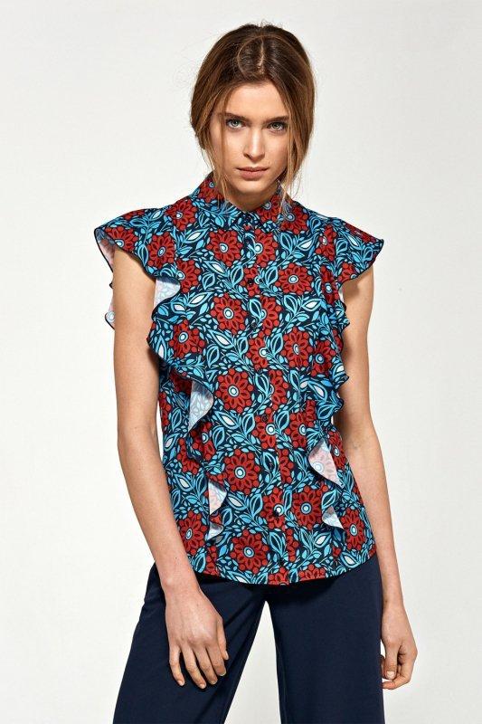 Bluzka z krótkim rękawem i falbanami B88 Blue/Flowers - Nife