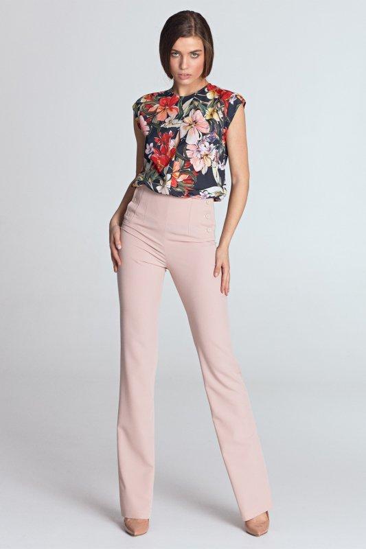 Spodnie z wysokim stanem SD34 Pink - Nife