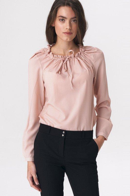 Różowa bluzka z dziewczęcym wiązaniem B114 Pink/Kropki - Nife