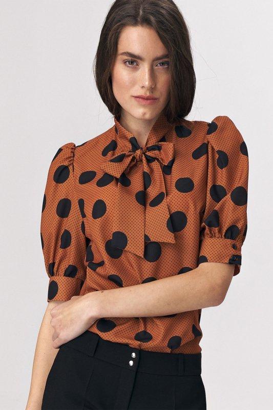 Brązowa bluzka z wiązaniem na dekolcie w grochy B111 Brown/Grochy - Nife