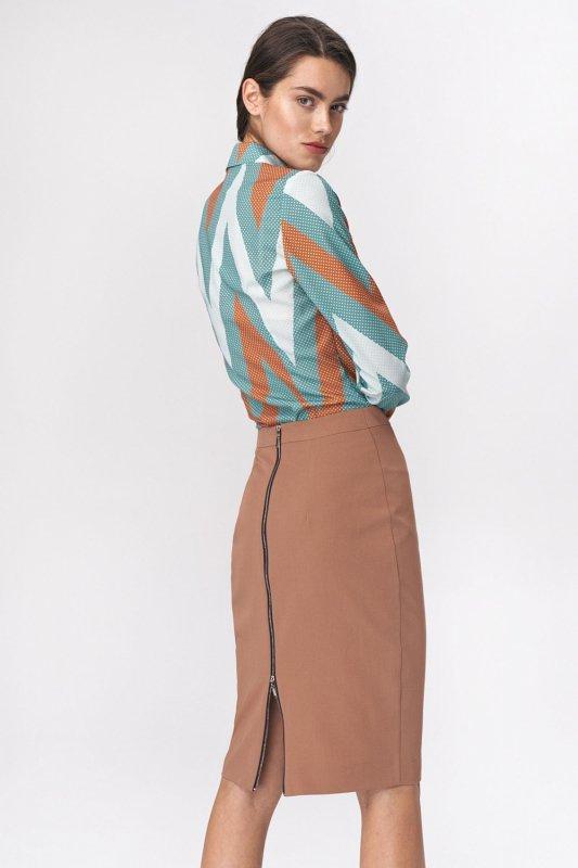 Spódnica Ołówkowa spódnica z dekoracyjnym zamkiem SP47 Carmel - Nife