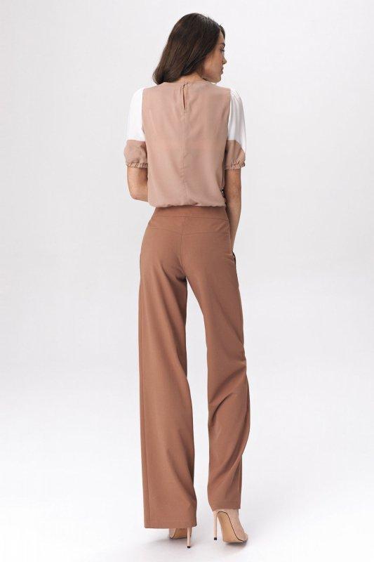 Dwukolorowa bluzka z bufiastym rękawem B115 Beige/Ecru - Nife