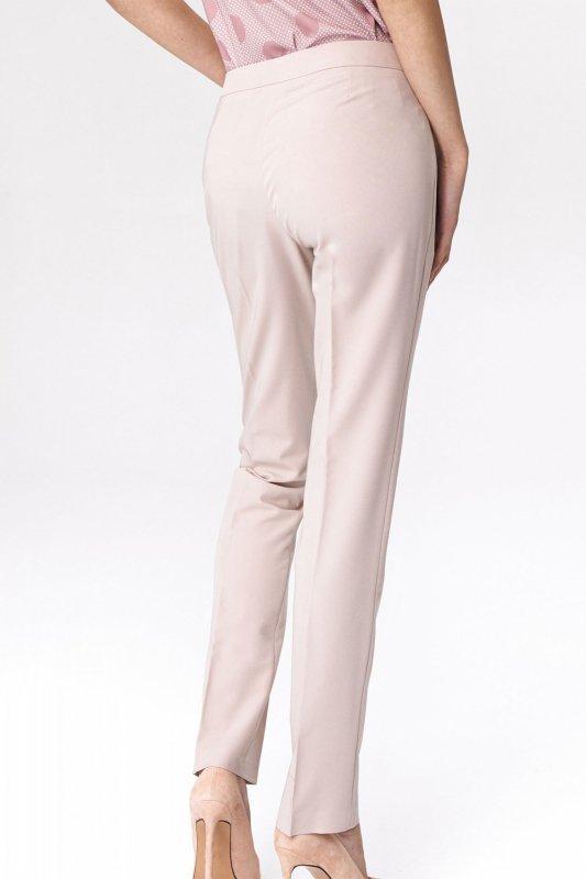 Jasnobeżowe klasyczne spodnie damskie SD39 Beige - Nife
