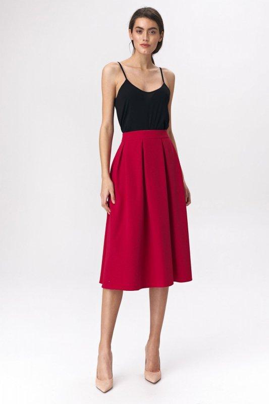 Spódnica Rozkloszowana czerwona spódnica midi SP50 Red - Nife