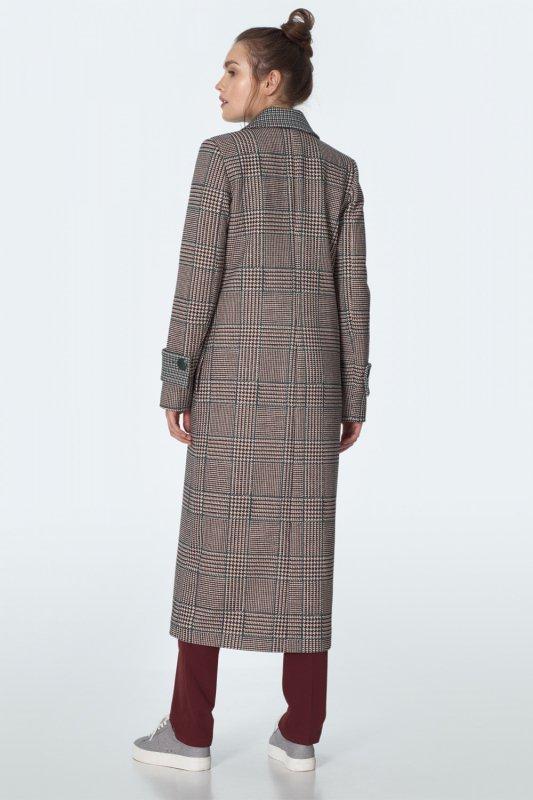 Dwurzędowy płaszcz we wzór PL11 Pepitko - Nife
