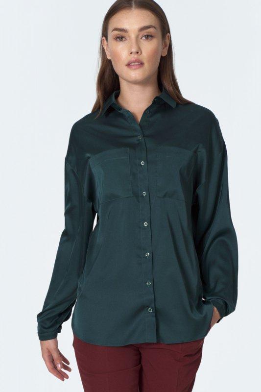 Zielona koszula satynowa K56 Green - Nife