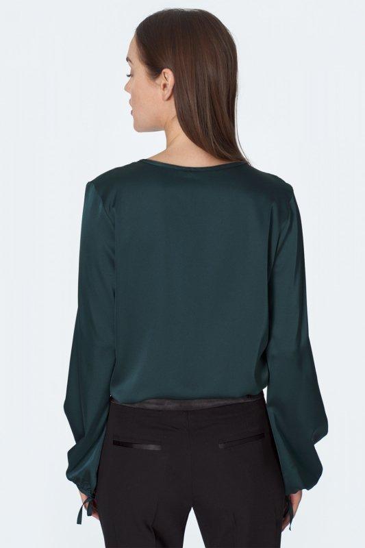 Satynowa bluzka w kolorze butelkowej B128 Green - Nife