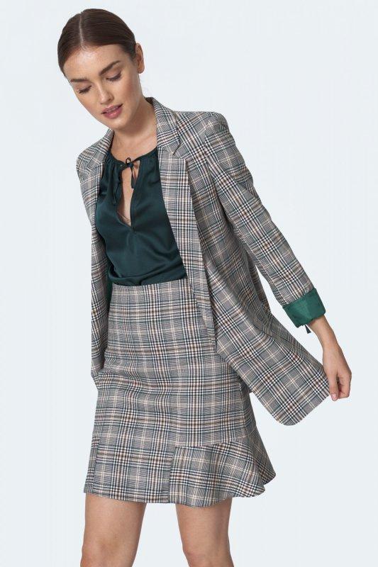 Spódnica Mini spódnica z falbanką w zieloną kratę SP53 Krata - Nife