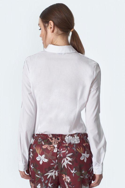 Biała koszula z lamówkami na rękawach K57 White - Nife