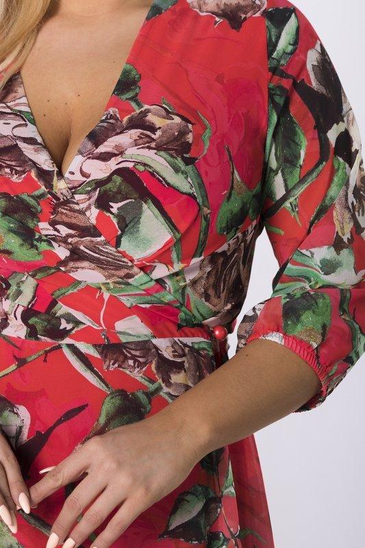 kopertowa sukienka midi z wiązaniem