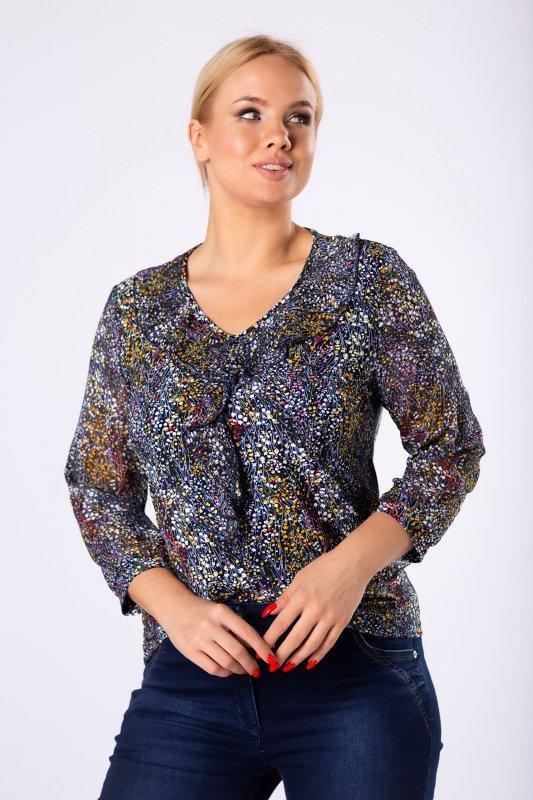 bluzka z falbankami na biuście i tiulowymi rękawami
