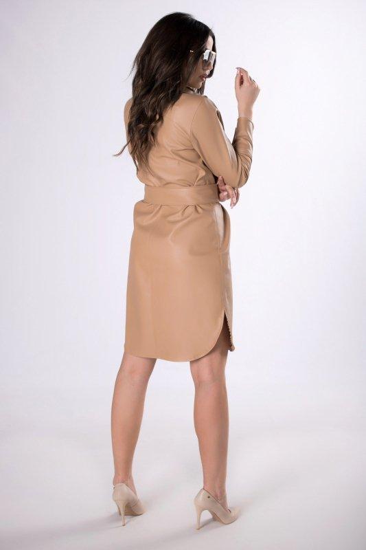 sukienka szmizjerka z imitacji skóry