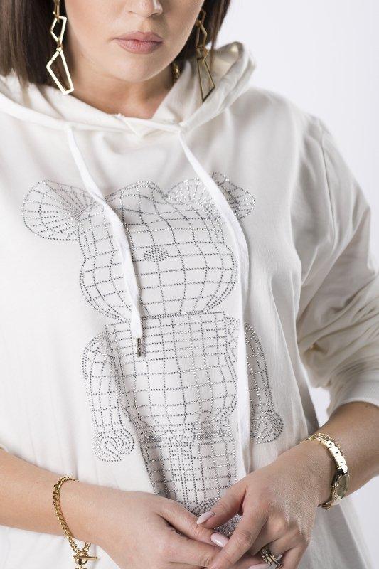 oversize'owa bluza z połyskującą aplikacją z przodu