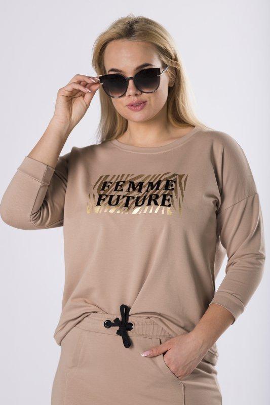 bluza z połyskującym nadrukiem