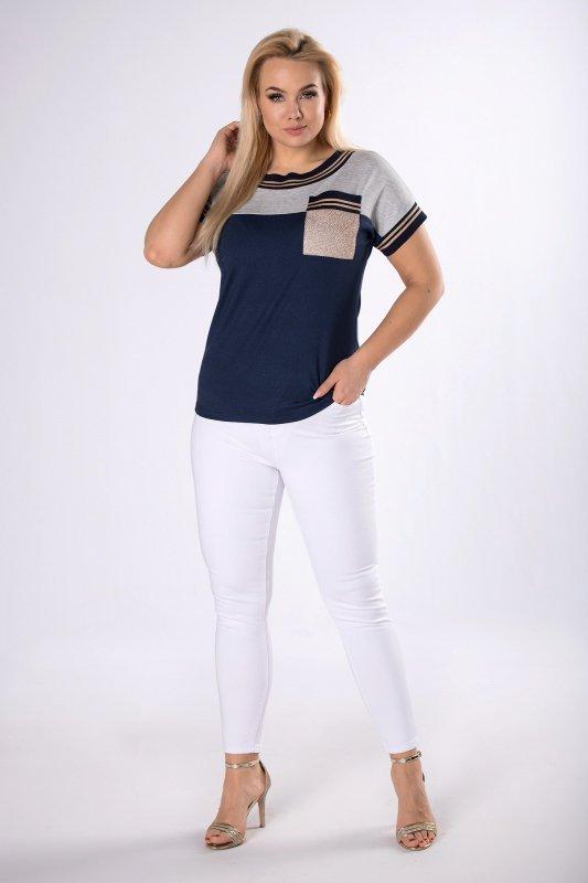 bluzka z krótkim rękawem i brokatową aplikacją