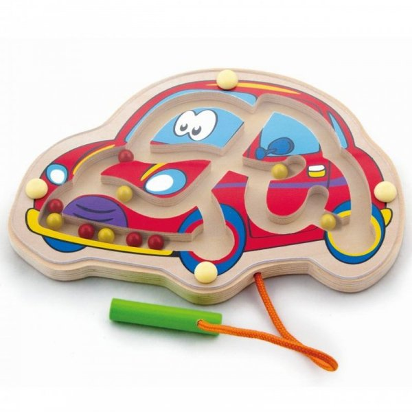 Drewniany Labirynt Magnetyczny Samochodzik - Viga Toys