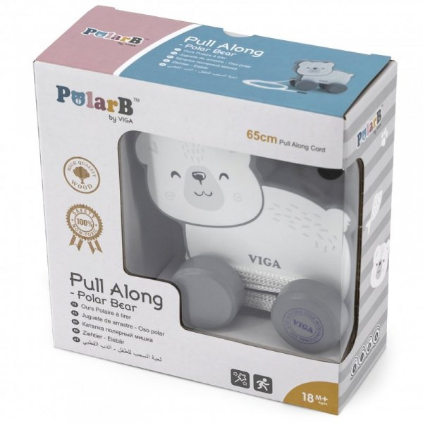 Drewniany Miś Polarny do ciągnięcia - PolarB - Viga Toys