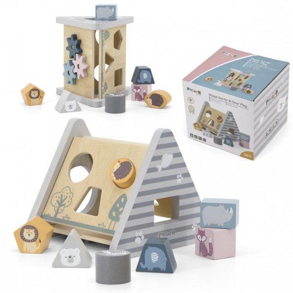Drewniany edukacyjny sorter z klockami piramida - Viga Toys