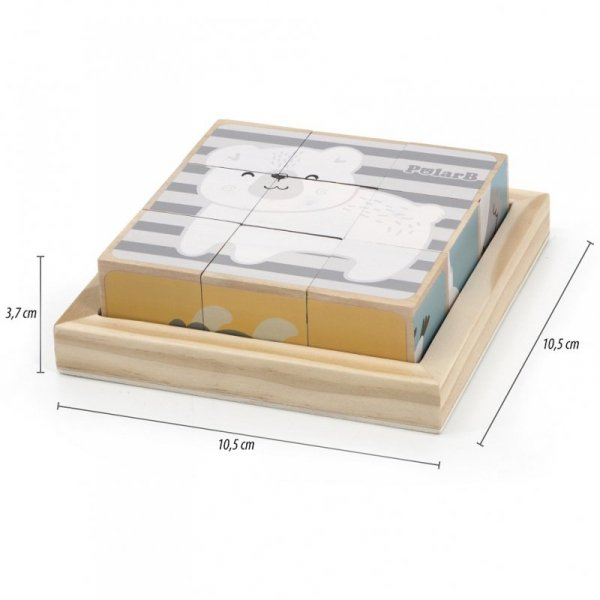 Drewniana Układanka Obrazkowa 6-Stronna Zwierzątka - PolarB - VIGA Toys