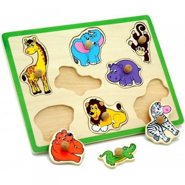 Drewniane Puzzle Zwierzęta ZOO Układanka - Viga Toys