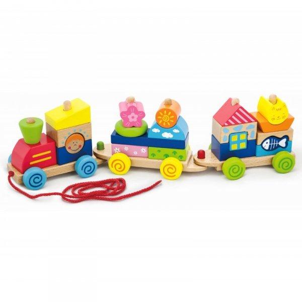 Kolorowa Kolejka z wagonikami do ciągnięcia - Viga Toys