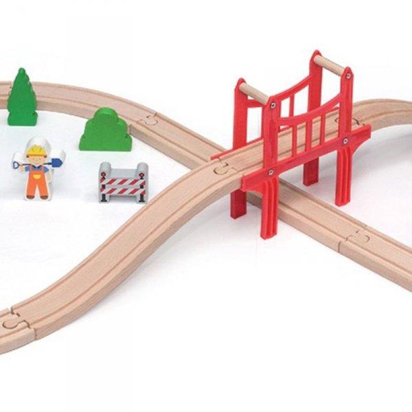 Drewniana Ogromna Stacja kolejowa 39 elementów Pociąg Kolejka - Viga Toys