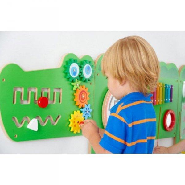 Tablica Sensoryczna Manipulacyjna Edukacyjna Krokodyl - Viga Toys