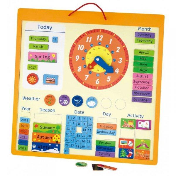 Magnetyczny kalendarz edukacyjny 75 elementów - Viga Toys