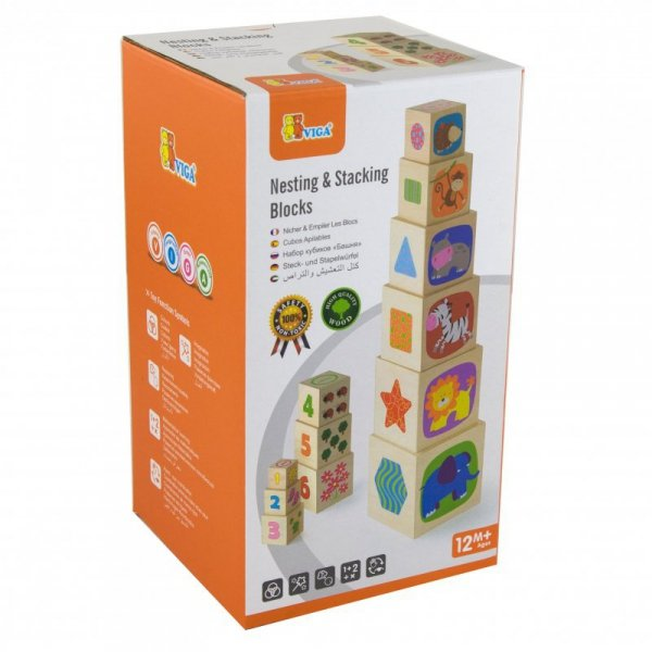 Drewniana Piramida Piramidka Układanka Edukacyjna - Viga Toys