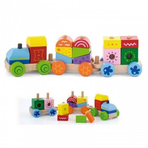 Kolejka Drewniana Pociąg Ciuchcia Klocki - Viga Toys