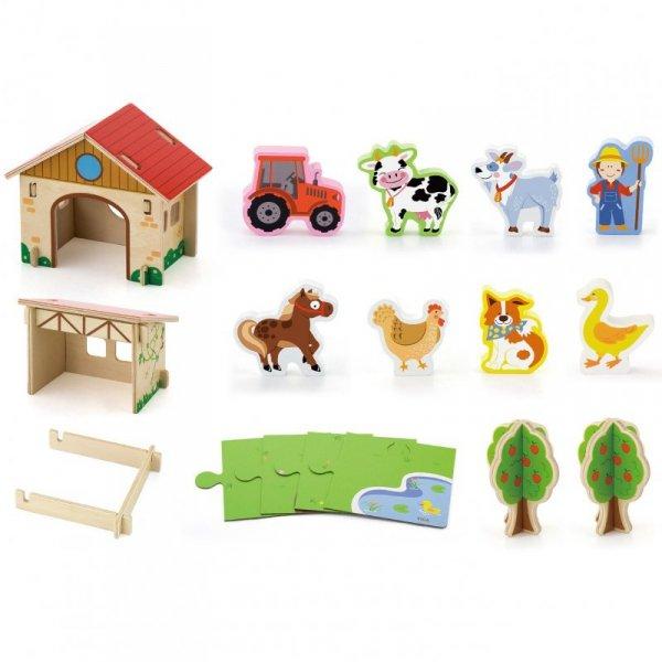Drewniana Farma dla Zwierząt 3D Zagroda ze zwierzętami 30 elementów - Viga Toys
