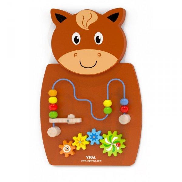 Drewniana Gra z przeplatnką i kołami zębatymi Koń - Viga Toys