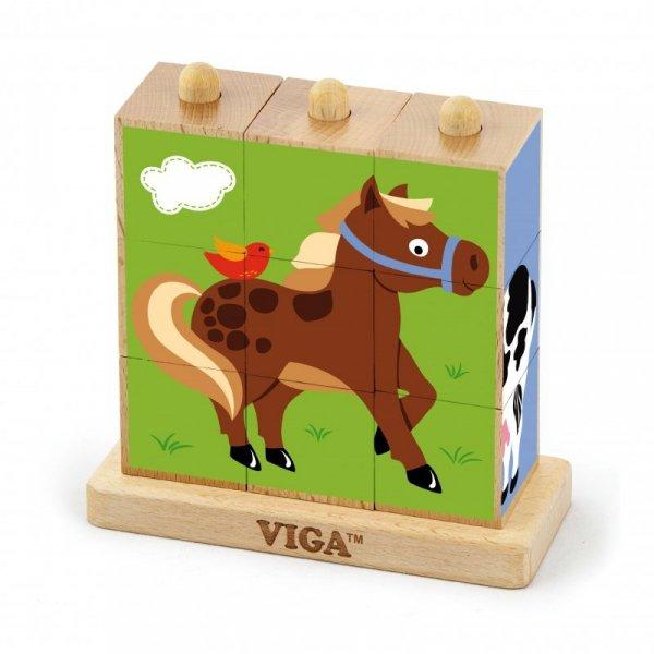 Drewniana Układanka Logiczna Puzzle Edukacyjne - Farma 9 elementów - Viga Toys
